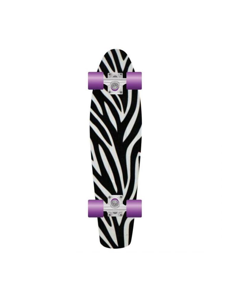 Retro Plastic Skateboard  - Zebra 28''
