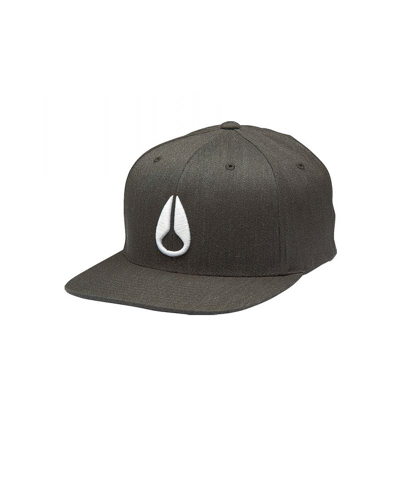 NIXON DEEP DOWN FF ATHLETIC FIT HAT - Black Heather / White