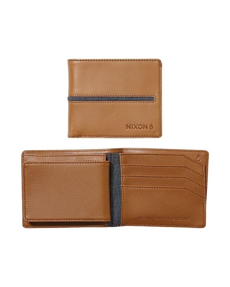 Coastal Satellite Bi-Fold ID Coin Wallet - Tan