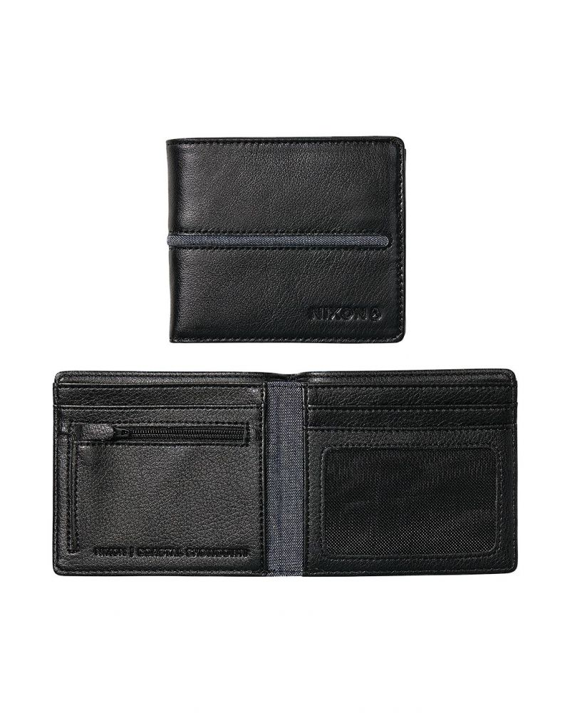Coastal Showdown Bi-Fold Zip Wallet- Black/Black