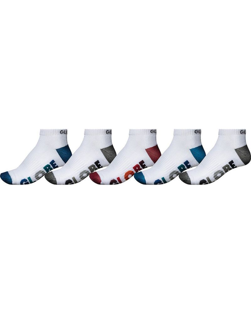 MULTI STRIPE ANKLE SOCK 5PK White  39-45