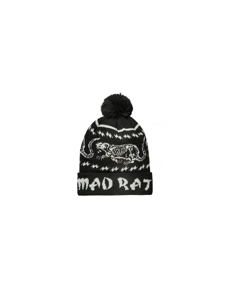 MAD RAT POMPOM BEANIE - Black