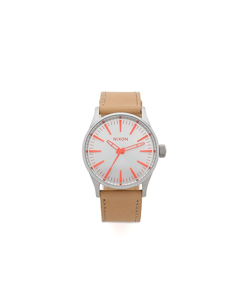 Sentry 38 Leather Silver / Bright Coral / Natural