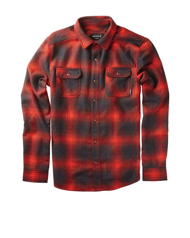NIXON CEDAR L/S SHIRT - Crimson