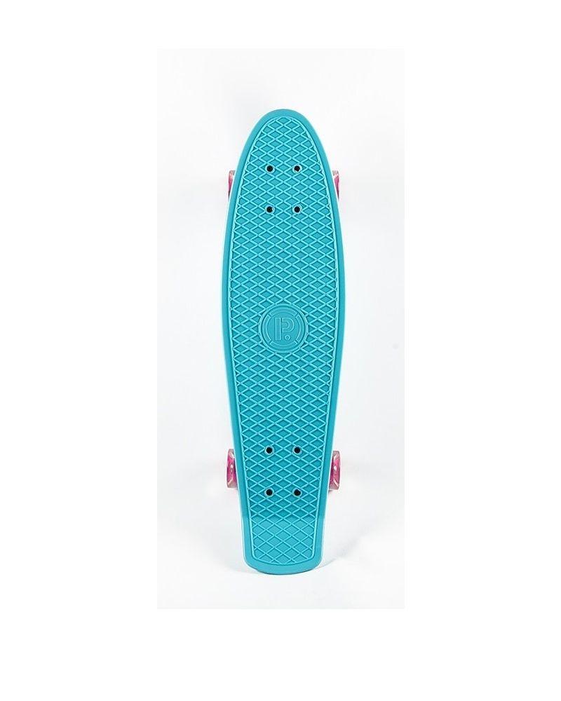 28 Retro Plastic SkateboardBLUE/LUMINA WHEELS